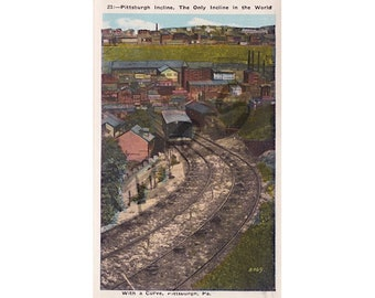 Instant Download, Printable Art, Pittsburgh Pennsylvania, Early 1900's, Incline Railroad, WWI Era Vintage Postcard