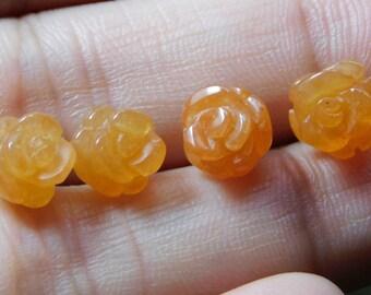Natural Aventurine beads Rose shape 5pcs-set - 8mm x 6-7mm - STK-36-AVNB-01
