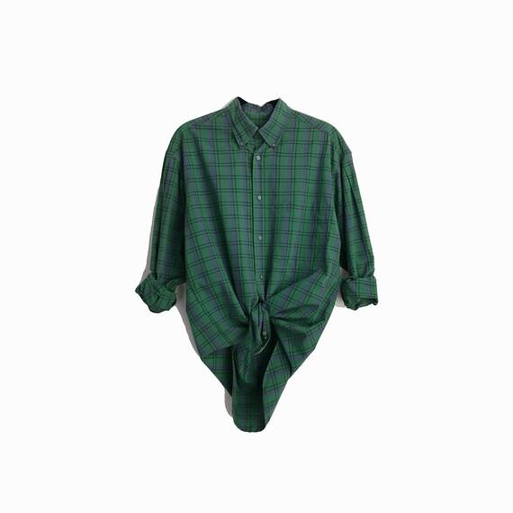 Vintage Perry Ellis America Boyfriend Shirt in Green Plaid / Button Down Cotton Shirt - men's small