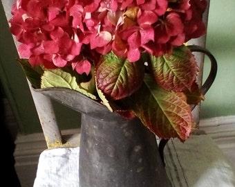 Vintage galvanised water Jug ~ pitcher ~ unusual shape ~ flower display ~ rustic