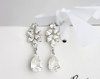 Crystal Bridal Earrings Art Deco Crystal Leaf Earrings Swarovski Crystal Wedding Jewelry Sparkly Evening Formal Gift AMELIA