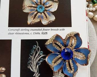 Vintage Coro Craft Corocraft Sterling enamel flower brooch