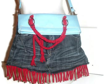 'Jeans upcycled' shoulder bag and faux leather and cotton