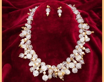 High Fashion Crystal Choker, Swarovsky pearl necklace and earrings,Bavarian crystal, quartz and Turkish vermeil, Mothers Day, Crystal Choker
