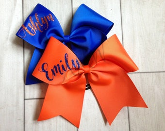 Personalized Cheer Bow - Royal Blue and Orange Cheer Bow - Orange and Blue Cheer Bow - Blue and Orange Cheer Bow - Florida Cheer Bow - UVA
