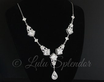 Crystal Rhinestone Necklace Bridal Necklace Crystal Wedding Jewelry  Statement Wedding Necklace Swarovski Necklace  KATRINA CRYSTAL NECKLACE