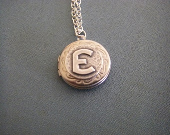 Art Deco Initial Locket Letter  E Personalized Small silver locket necklace gift for her dainty locket for any age