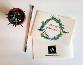 Christmas card, greeting card, illustration wreath Christmas tree and tits