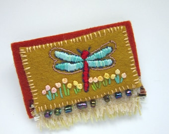 Dragonfly Pin - Felt Brooch - Embroidered Sweater Pin