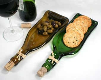 Gold Wine Bottle Serving Tray Spoon Rest Cork Recycled glass Eco-Friendly Melted Wine Bottle Foodie gift Wine gift under 25 Upcycled