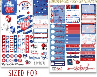 Fun 4th of July Planner Stickers - Planner stickers - Fits Erin Condren Life Planner - Independence Day Stickers - 4th of july stickers