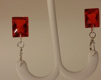 Cherry Quartz Dangle Earrings with Sterling Silver Lever Backs
