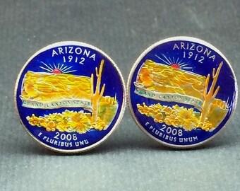 USA Quarter coin cufflinks Arizona   state   quarter 24mm