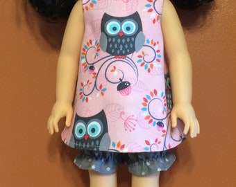 """Pink owl jumper and bloomers for the 14.5"""" doll pr wellie wisher"""