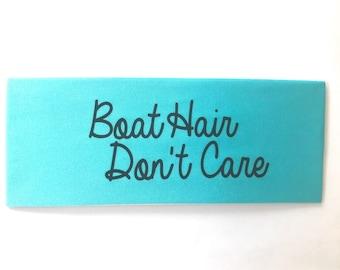Light Blue Boat Hair Don't Care Spandex Headband
