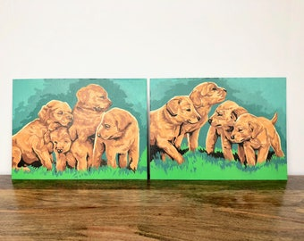 Set of 2 Puppy Paint by Number Paintings - Vintage Art