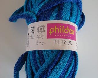 61960a40522d Pelote de 50 g Feria de Phildar pour écharpe ou bordure - Aiguilles 10-11 -  Dégradé de bleu - Laine et acrylique