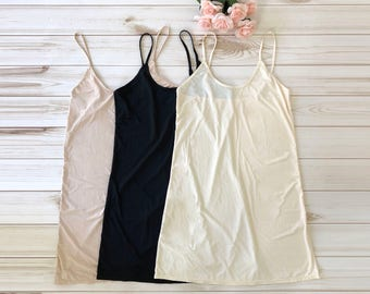 Mid-Length Slip Dress - multi colors - midlength basic inner under dress - adjustable strap mid length slip dress