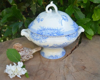 "Antique french ironstone blue  soup tureen St Amand "" jardinière"" Shabby 1800's"