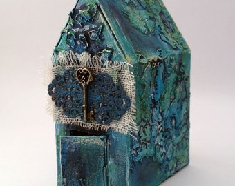 Decorative house, mixed media, blue and green, metal key