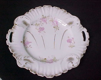Antique KPM Porcelain Serving Plate / Charger With Gold Trim, Pierced Tab Handled China Salver Decorated With Pink Roses, Vintage Cake Plate