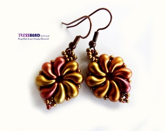 Copper Metallic Mix Color Zoliduos Beaded Bead Earrings