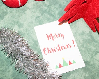 Trees and Merry Christmas greeting card
