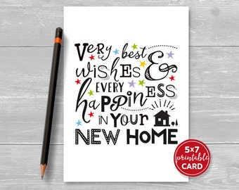 "Printable New Home Card - Very Best Wishes & Every Happiness In Your New Home - 5"" x 7""- Includes Printable Envelope Template"