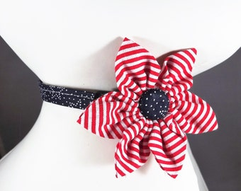 4th of July Cat Collar, Breakaway Cat Collar, Patriotic Cat Collar, Red cat collar, kitten collar, bell & collar flower or Bow tie optional