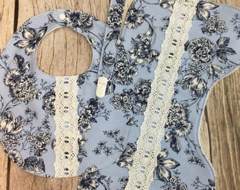 Baby Girl Gift Set - Blue Floral Flannel and Lace - Contoured Burp Cloth, Bib, and Universal Pacifier Clip - Baby Shower Gift READY TO SHIP