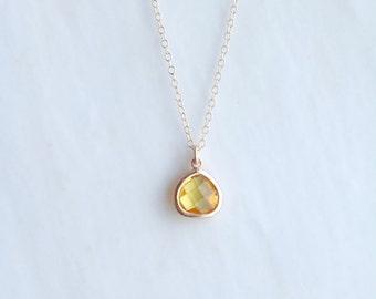 Yellow Quartz Necklace - Citrine Necklace - Gold Necklace - Stone Necklace - Birthstone Necklace - Pendant Necklace - Quartz Stone Necklac