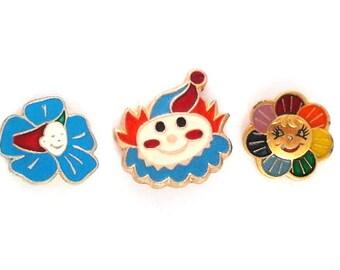 Vintage soviet children's pin badges, smile, rainbow, made in USSR, 1970s