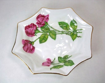 Vintage Royal Standard Fine Bone China, Three Red Roses Sweet Meat Dish - Made in England