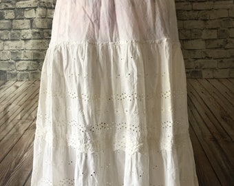 Vintage Cotton Eyelet Prairie Slip Petticoat Small Medium Costume Rockabilly