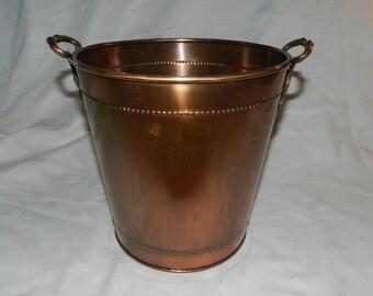 Copper Waste Basket / Trash Can                                        ---    28-F
