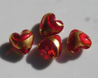 Red Siam and Gold Foil Lampwork Heart Bead 1