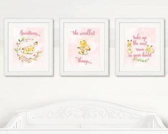 BUNNY WALL ART, Baby Girl Bunny Wall Art, Pink Bunny Wall Art, Instant Download, Digital Printable, Watercolor Bunnies
