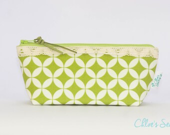 Green Pencil Case, Orange Peel Pencil Pouch, Orange Peel Zipper Bag, Leather Pull, Cotton Lace
