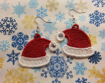 Embroidered Santa Hat earrings