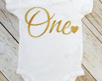 First Birthday Glitter One with a Heart Bodysuit