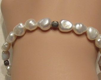 Freshwater Pearl Stretch Bracelet with Antiqued Silver Beads/ Handmade/ Hand Crafted