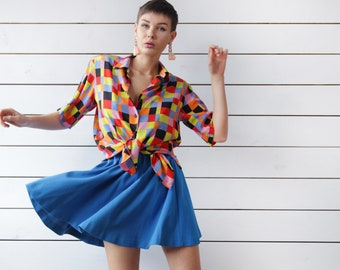 Vintage colorful checkered pure silk short sleeve button up shirt blouse top