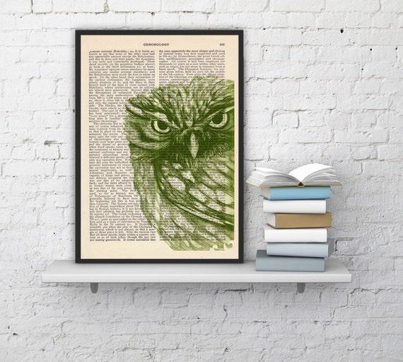 Owl Dictionary page book art print Green Owl Print  Vintage Book altered art dictionary  illustration book print BPAN034