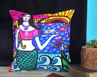 Fast shipping/Mermaid pattern colorful print pillow cover/Housewarming gift/Rainbow colors pillow designs