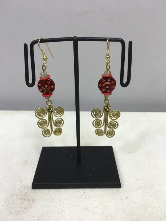 Earrings African Brass 3 Coil Earrings Old Red Islamic Beads Masai Beaded Earrings Handmade Brass Women Earrings Tribal E45