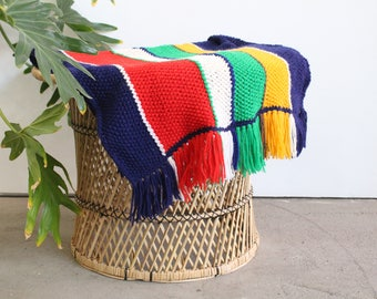 Vintage Handmade Crochet Primary Colors Afghan/Throw/Blanket With Fringe