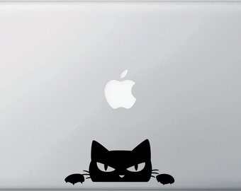 MB - Angry Cat Peeking Over . . .  Vinyl Laptop Decal Sticker - Copyright 2014 © YYDC (Size and Color Choices)