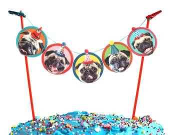 Pugs Dogs Birthday Cake Garland - party decoration for Pug dog lovers - banner bunting