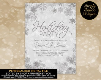 Silver Snowflake Holiday Party Invitation