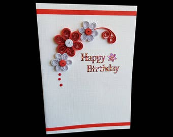 Red and White paper quilling birthday card with greetings for handmade lovers